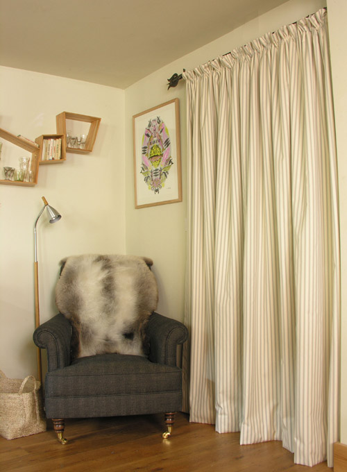 Curtain made with Ticking Fabric