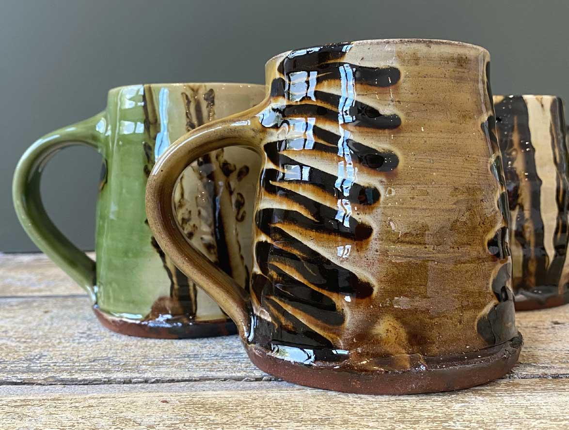 Russell Kingston handthrown mugs Tinsmiths