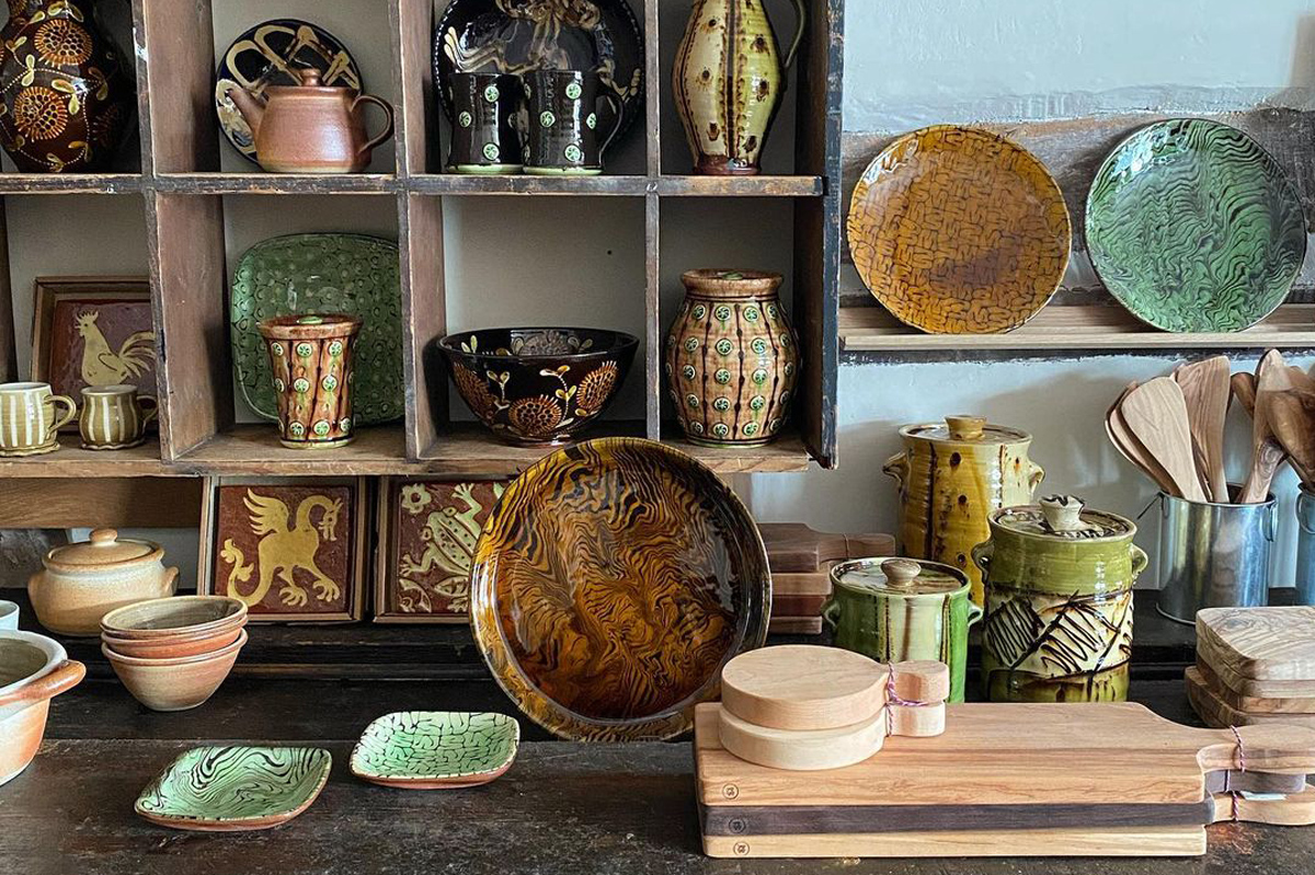 Tinsmiths Slipware and Studio Ceramics Shelves